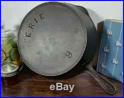 HTF Erie #9 DEEP 2nd Series Cast Iron Skillet 1880s Pre Griswold
