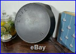 HTF Erie #9 Postage Stamp 2nd Series Cast Iron Skillet 1880s Pre Griswold