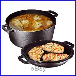Heavy Duty Pre-Seasoned Cast Iron Double Dutch Oven with Skillet Lid, 5-Quart New