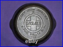 Htf #2 Griswold Cast Iron Skillet Heat Ring Slant Logo Erie Pa USA Sits Flat