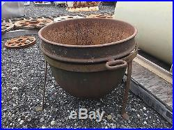 Huge Cast Iron Kettle Cauldron Pot With Stand