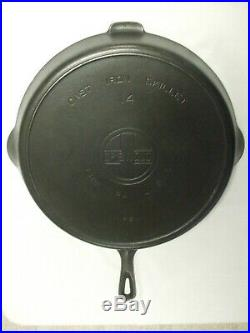 Huge Old Griswold #14 Cast Iron Skillet Large Block Logo Heat Ring Nice