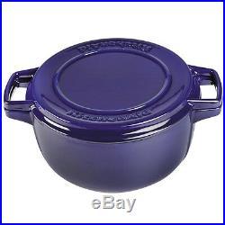 KitchenAid Cast Iron Professional Cookware KCPI60CRFU Cobalt Blue 6-Qt Casserole