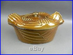 LARGE FIGURAL CHICKEN ROASTER BY STAUB ENAMELED CAST IRON HUGE! ALMOST 15 LONG