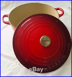 LE CREUSET #28 7.25 Qt Round Dutch Oven Cerise Cherry Red Made in France