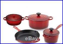 LE CREUSET 7 Piece Cast Iron Cookware Set Colors choice, New