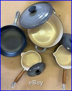 LE CREUSET 7 piece cookware set Enameled cast iron. Oyster grey