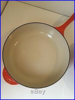 LE CREUSET CAST IRON ENAMEL FLAME DEEP SKILLET DEEP SAUTE PAN WithLID #30 12