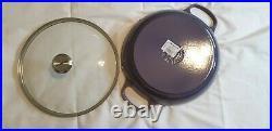 LE CREUSET CAST IRON ROUND BRAISER 3 1/2 QT with GLASS LID Blue Bell Purple
