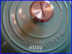 LE CREUSET COOL MINT SIGNATURE CAST IRON ROUND BRAISER 1 1/2 QT NEWithORIGINAL BOX