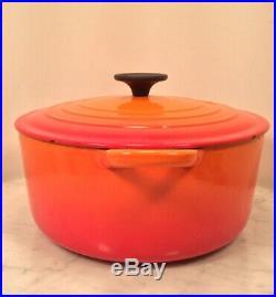 LE CREUSET Cast Iron E Orange Flame 4.5 Quart Dutch Oven Pot France