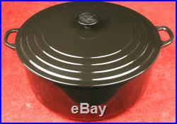 LE CREUSET Cast Iron Onyx Black Round 13-1/4 Qt 12.7L Dutch Oven Pot #34 France