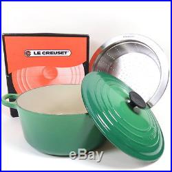 LE CREUSET DUTCH OVEN SIZE 26 WITH STRAINER & LID IN BOX JADE GREEN CAST IRON