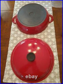 LE CREUSET RED CAST IRON BRAISER #30, 3.5 QT, FRANCE 12 With LID, IMMACULATE