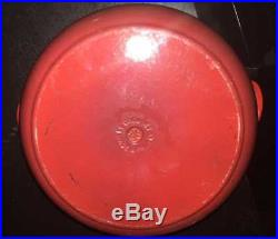 LE CREUSET Round Cast Iron Enameled Dutch Oven Red 7.25 qt 28 with Lid EXCELLENT