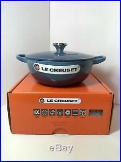 LE CREUSET Soup Pot Dutch Oven Cast Iron 1.5qt 18cm Marine Blue NWT