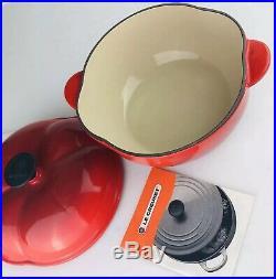 LE CREUSET Vintage 2.25 Qt Cast Iron Flame Red Tomato Shape Cocotte Pot Pan