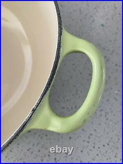 LE CREUSET Vintage Enamel Cast Iron Pot #22 Green 2 3/4 Quart