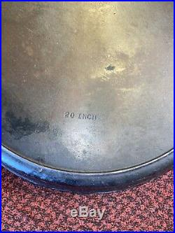 Large Griswold Wagner #20 Cast Iron Hotel Skillet with Heat RIng 20 Inch -Rare