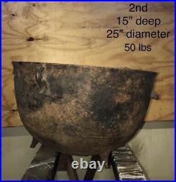 Large Vintage Cast Iron 3 Footed 25 Cauldron Cooking Pot Kettle