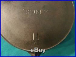 Large Vintage Sidney No. 11 Cast Iron Skillet Pre Wagner