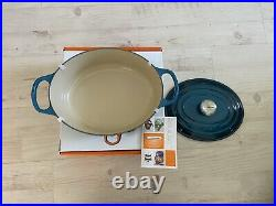 Le CREUSET SIGNATURE Dutch Oven 5qt Deep Teal Color, Oval, Rare Color 5 Qt NIB