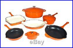 Le Chef 10-piece Enamel Cast Iron Orange Cookware Set, Super Sale