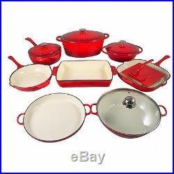 Le Chef 13-Piece Enamel Cast Iron Red Cookware Set. Super Sale