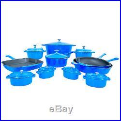 Le Chef 19-Piece ALL Enamel Cast Iron France Blue Cookware Set. SUPER SALE
