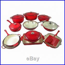 Le Chef 19-Piece Enamel Cast Iron Red Cookware Set. ON SALE