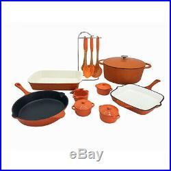 Le Chef 20-Piece Enameled Cast Iron Cookware Set, Orange. On Sale