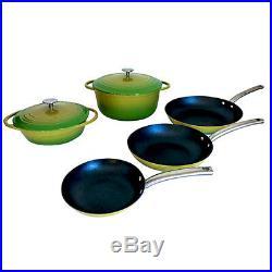 Le Chef 7 Piece Enamel Cast Iron Cookware Set, Palm. On Sale