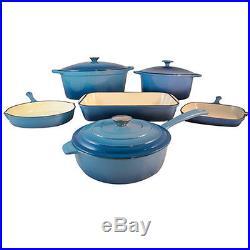 Le Chef 9-Piece Enamel Cast Iron Caribbean Blue Cookware Set, Close Out