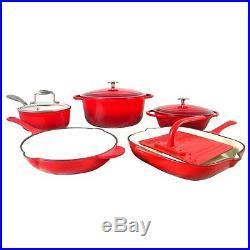 Le Chef 9-Piece Enamel Cast Iron Red Cookware Set. On Sale