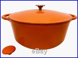 Le Chef Enameled Cast Iron Orange Round Dutch Oven 10-qt