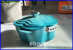 Le Creuset 1 1/8 Qt Flower Cocotte Caribbean Cast Iron Dutch Oven
