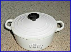 Le Creuset 2 Qt #18 White Round Cast Iron Dutch Oven Pot with Lid France EUC