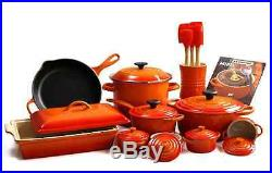 Le Creuset 20 Piece Cookware Set Enameled Cast Iron in Flame
