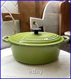 Le Creuset #23 Oval Dutch Oven w Lid 2.75 Qt Palm GREEN Cast Iron-NEVER USED