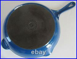 Le Creuset 23 blue enamel on cast iron skillet, double spout and made in France