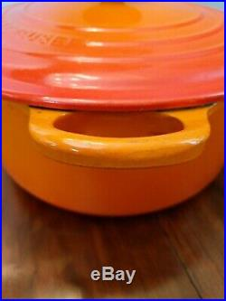 Le Creuset #26 Flame Orange Cast Iron Enamel 5.5 Qt Dutch Oven Stock Pot