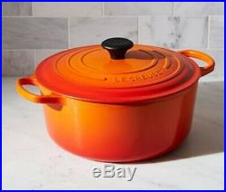 Le Creuset #28 Dutch Oven Cast Iron 7.25 Quart, Orange Flame, Round, NEW