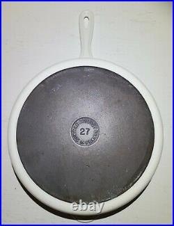 Le Creuset 3.75 Qt Cassadou Deep Covered Skillet RARE ALL WHITE #27 Dutch Oven