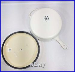 Le Creuset 3.75 Quart Cassadou Cast Iron Saute Pan Matte White 3 3/4 NEW