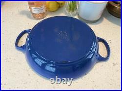 Le Creuset #30 Blue Cast Iron Round Braiser Shallow Casserole Pan 3.25 Qt & Lid
