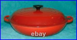 Le Creuset 30 Red Cast Iron Enamel Braiser / Skillet / Roasting Pot with Lid