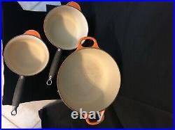 Le Creuset 3Pc Set Orange Flame #20 Dutch Oven #18 & #16 Sauce Pan w Lid Handle