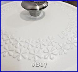 Le Creuset 4 Quart Floral Casserole Round Cast Iron Oven Fleur Matte White NEW