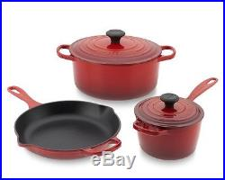 Le Creuset 5 Piec Cast Iron Cookware Set-Colors Choice