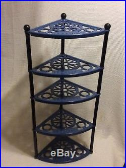 Le Creuset 5 Tier Blue Cast Iron Cookware Stand Kitchen Pot Rack Shelf